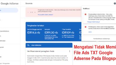 Cara Mengatasi Tidak Memiliki File Ads TXT Google Adsense