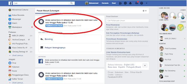akun facebook diblokir sementara