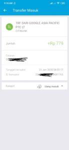 kiriman dari google asia untuk verifikasi rekening jenius