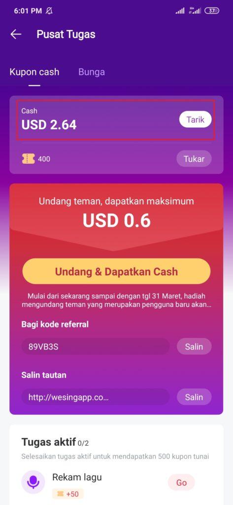 menukarkan dollar dengan pulsa gratis dari aplikasi wesing
