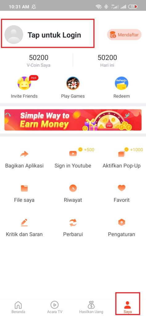 login dan daftar dari aplikasi Videobuddy