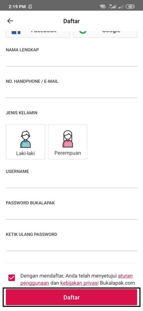 cara mengisi form pendaftaran