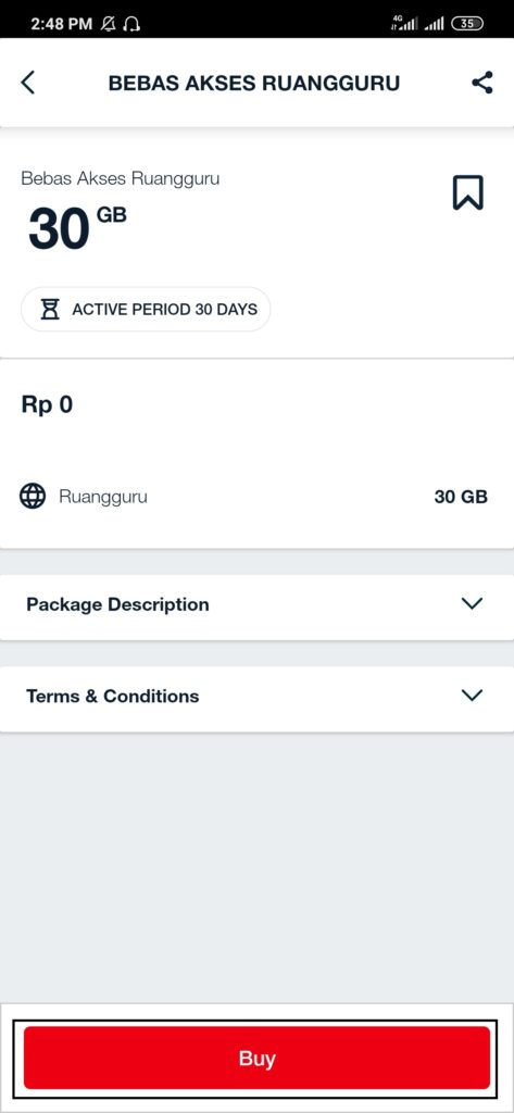 Mengaktifkan paket 30 GB