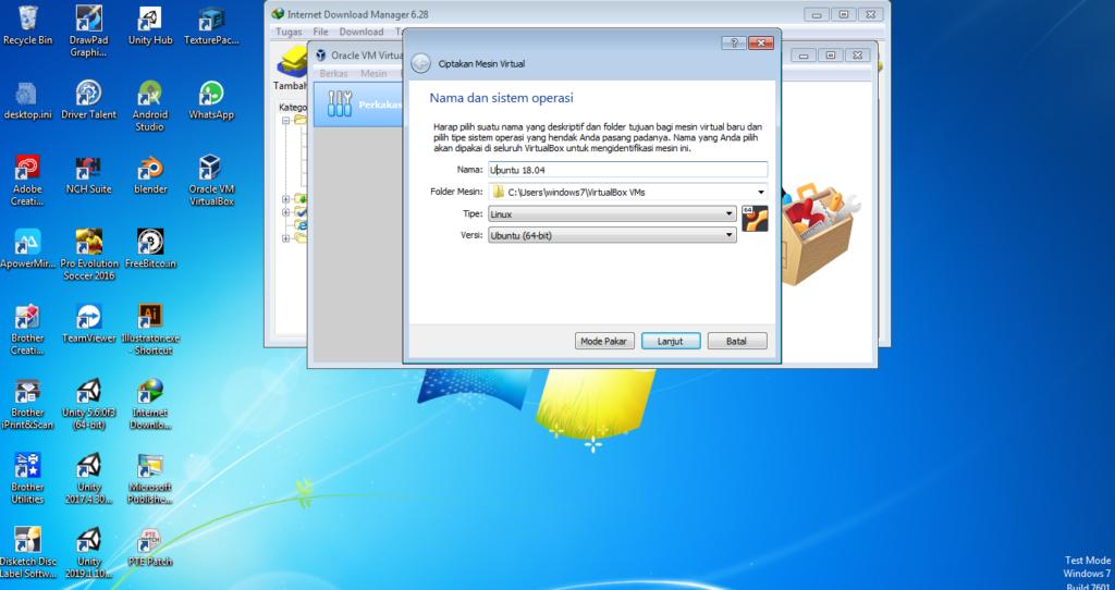 membuat sistem di virtualbox