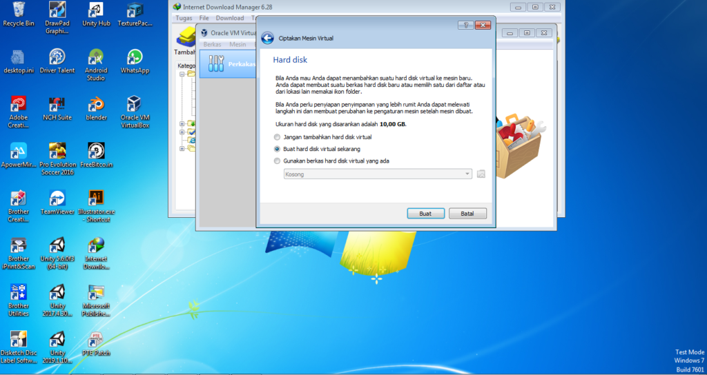 Membuat Hardisk di Virtualbox