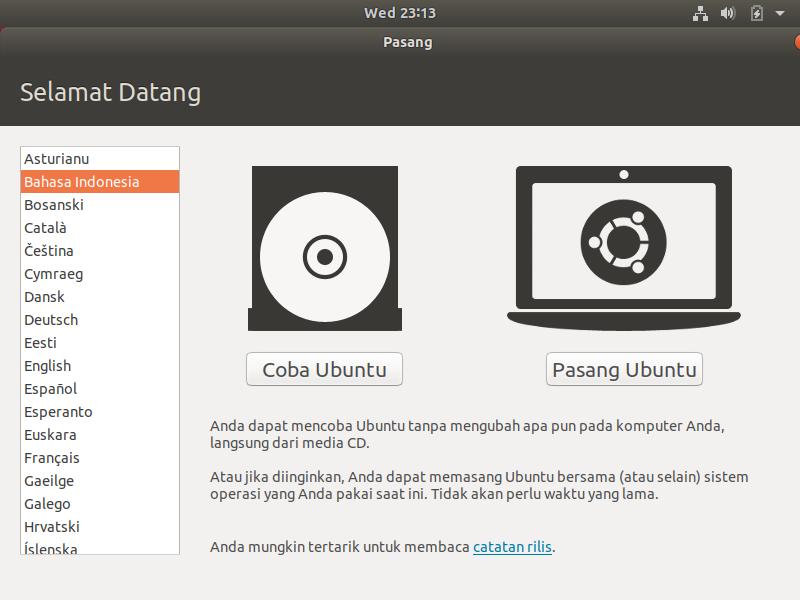 Cara Instal Ubuntu 18.04
