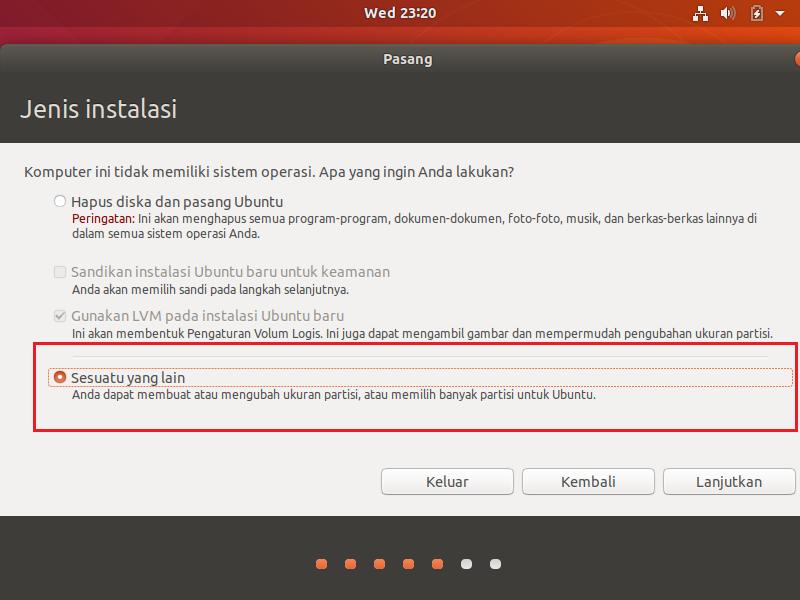 jenis instalasi di Virtualbox