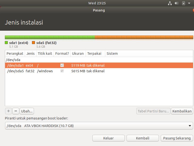 silahkan buat partisi ubuntu