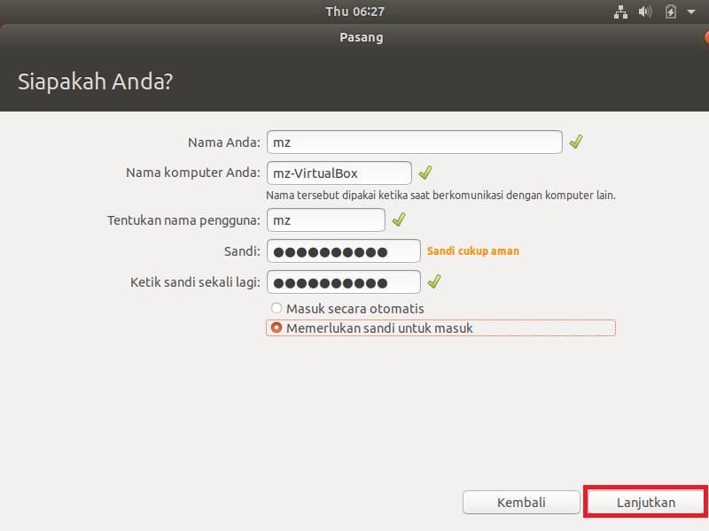membuat nama pc anda instal ubuntu 18.04
