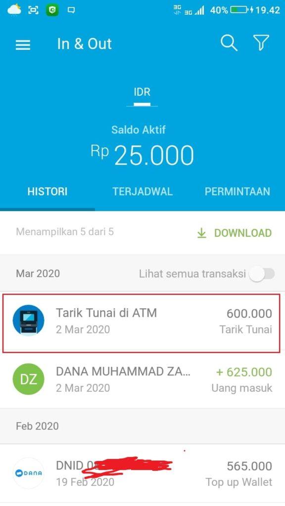 penarikan uang dari ATM BNI