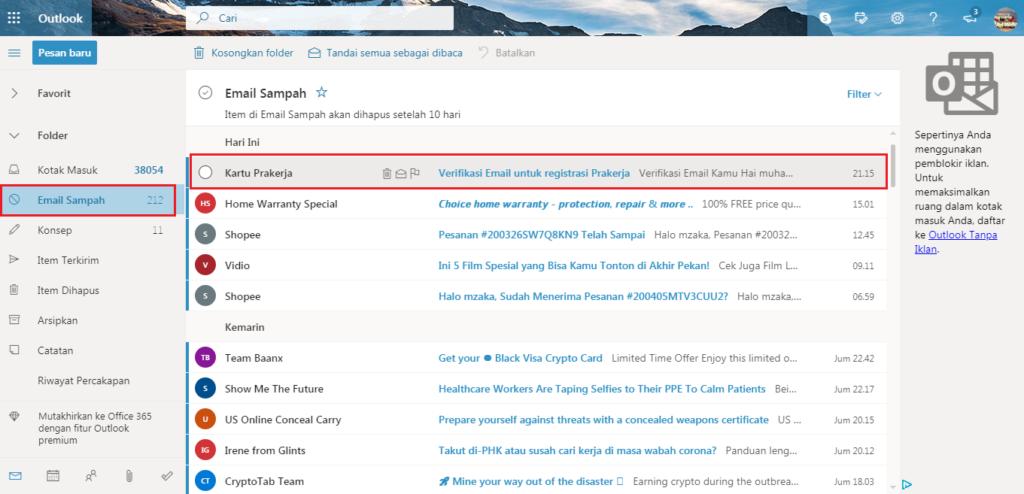 verifikasi email di situs kartu prakerja