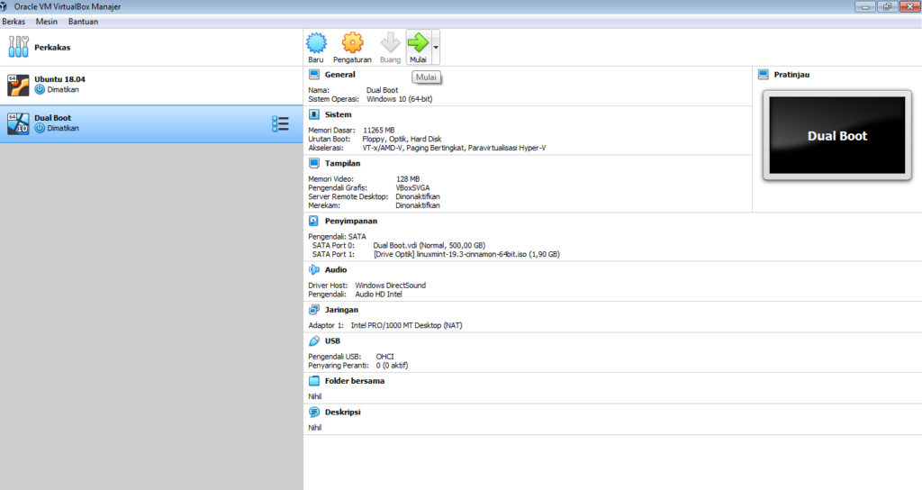cara instal linux mint dual boot dari virtualbox