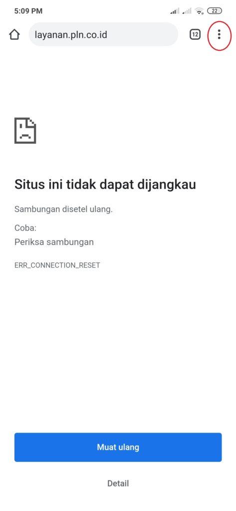 Situs PLN Tidak dapat dijangkau