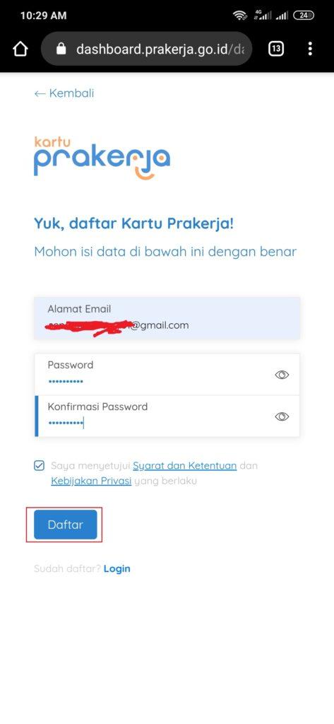 cara mengisi email pendaftaran kartu prakerja