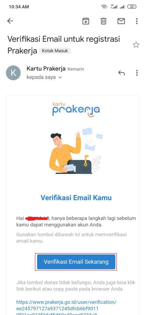 cara verifikasi email daftar kartu prakerja