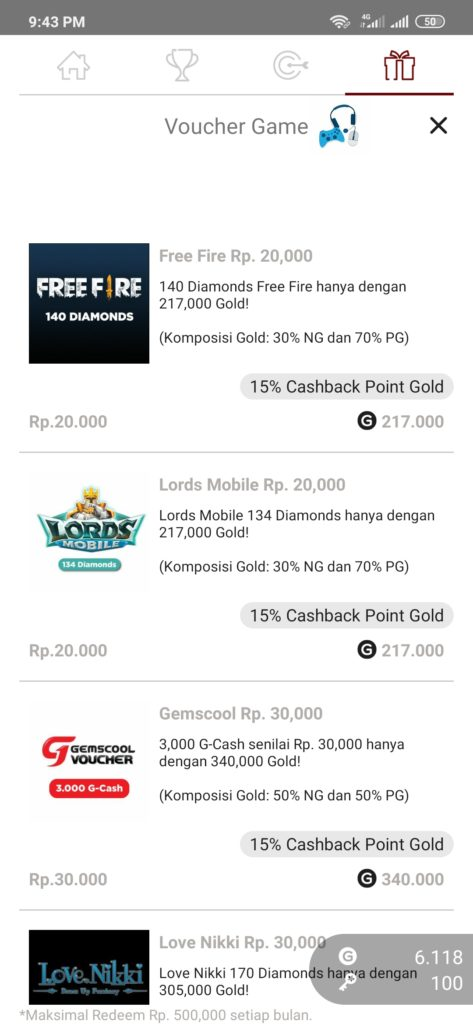 Diamonds Free Fire dari Cashpop