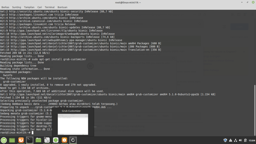 Cara Memasang Grub Customizer di Linux Mint