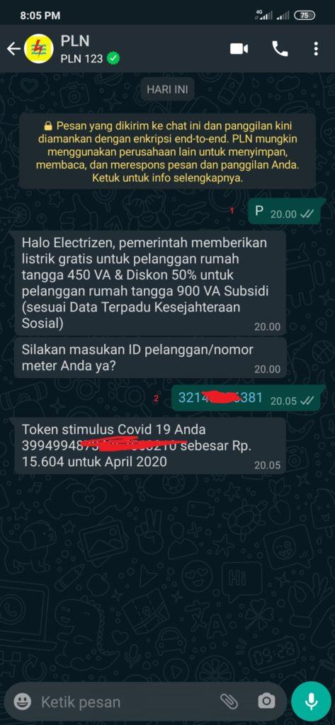 Cara Mendapatkan Token Gratis dari PLN Melalui WhatsApp
