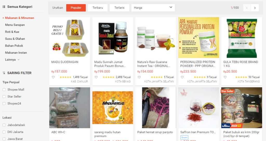 Shopee Situs jual makanan online terbaik