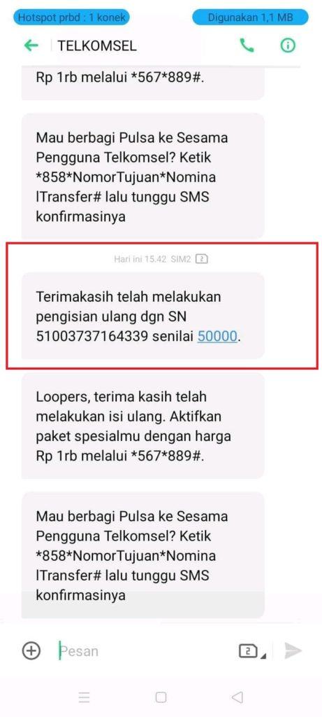 Bukti Pulsa Gratis dari Aplikasi MiChat