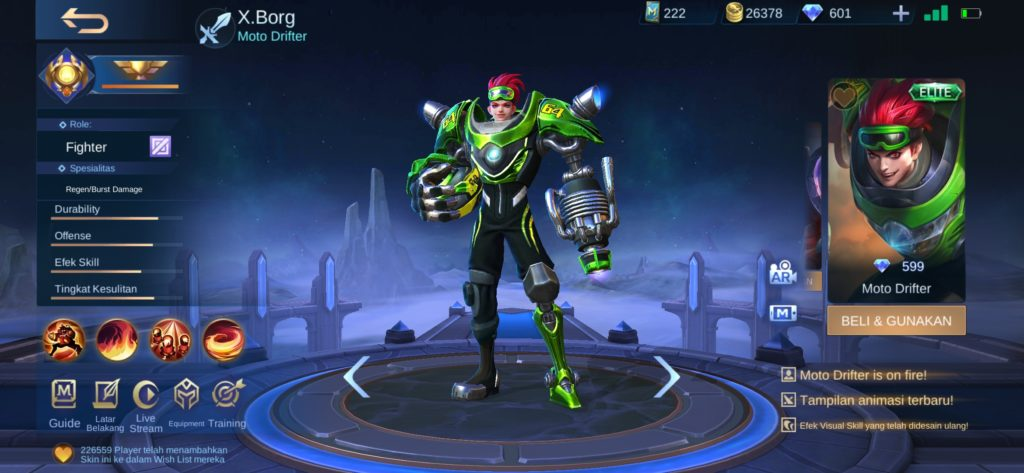 membeli skin mobile legends X.Borg