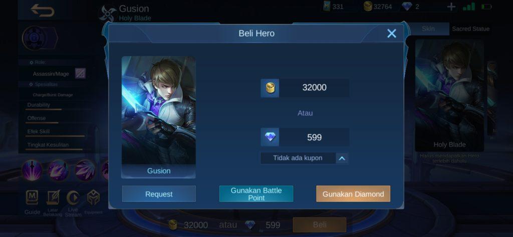 membeli hero dengan battle point