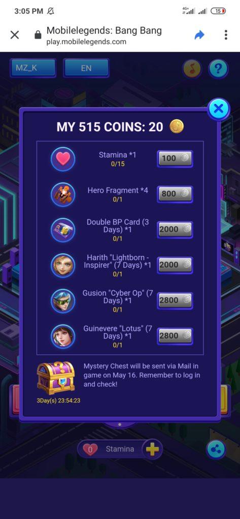 menukarkan coins event 515