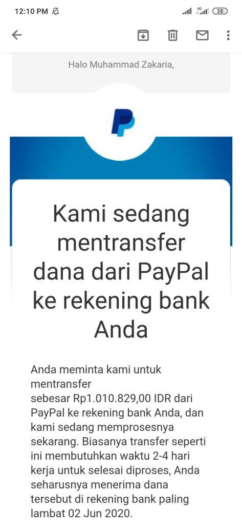 penarikan uang dari rekening paypal