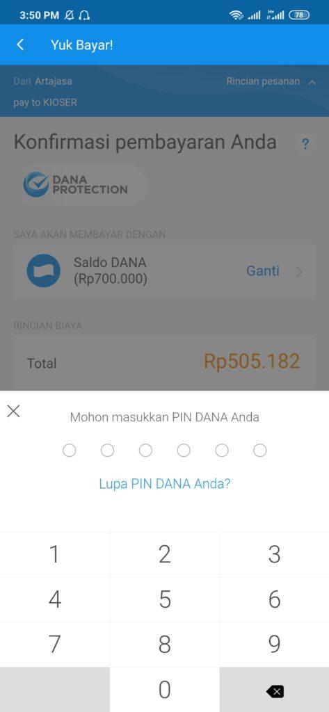masukan pin transaksi untuk deposit kioser dari dana