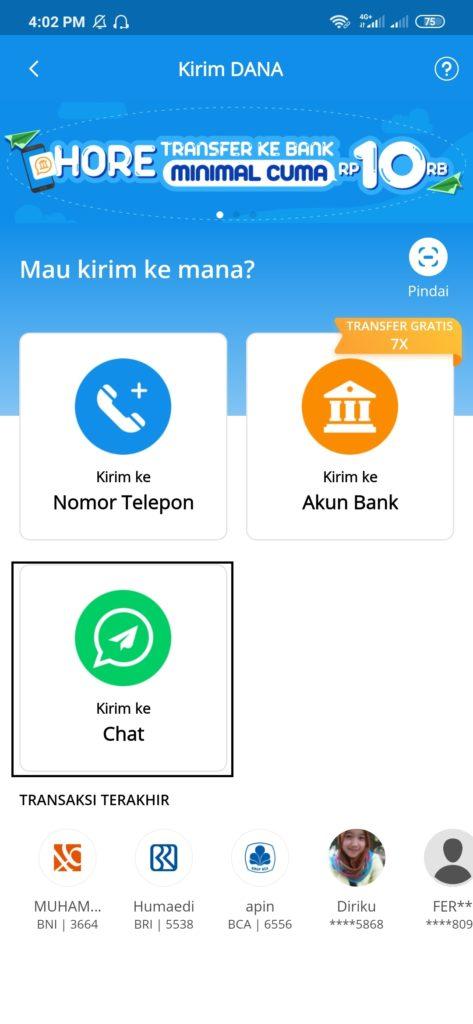 kirim uang lewat chat