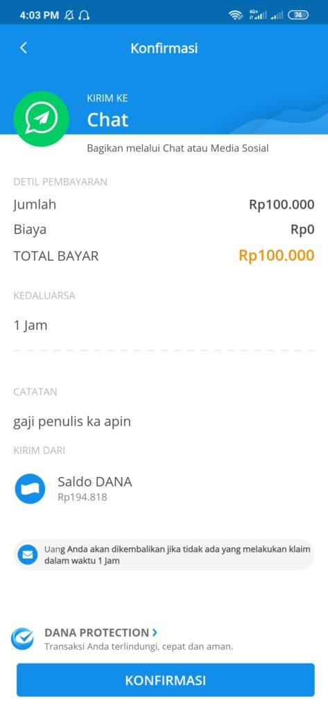 konfirmasi kirim uang dana lewar chat whatsapp
