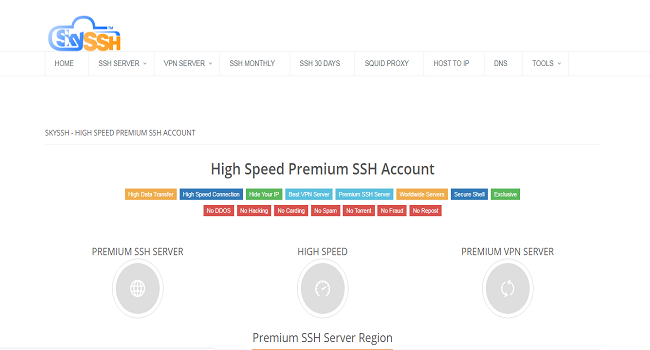 Situs penyedia ssh terbaik SkySSH