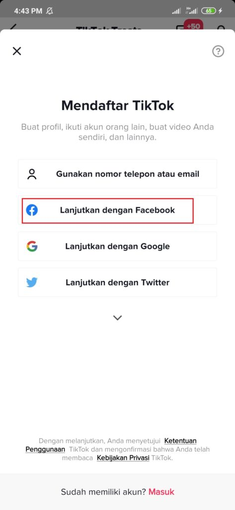 Mendaftar Aplikasi Tiktik