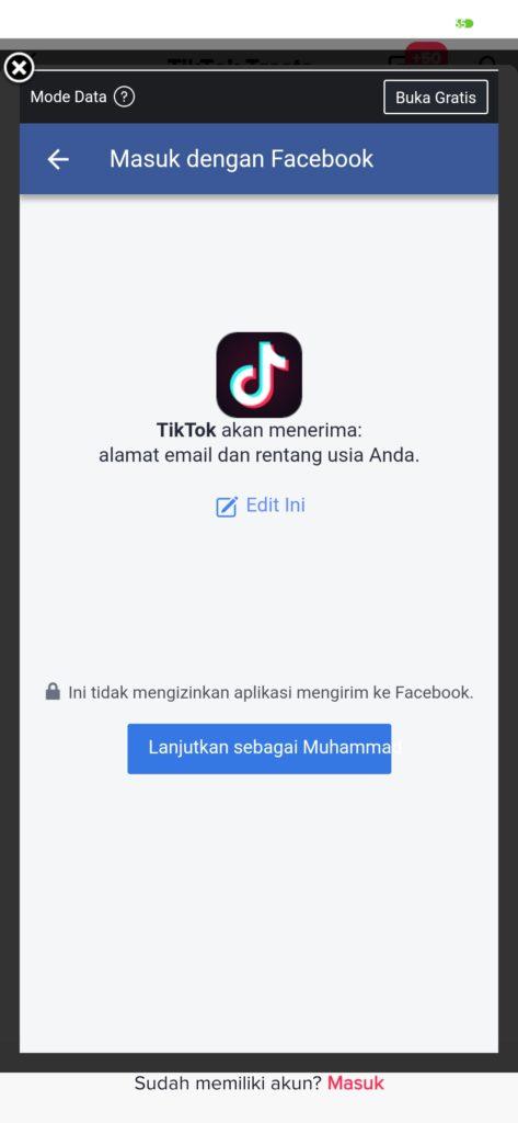 login Tiktok dengan akun facebook