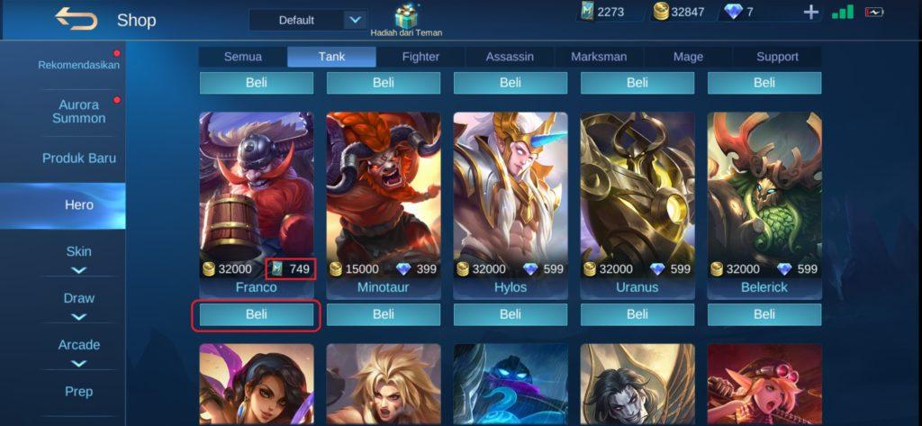 Memebeli Hero Mobile Legends dengan Tiket