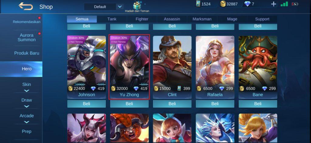 Cara Membeli Hero Baru Mobile Legends dengan Battle points
