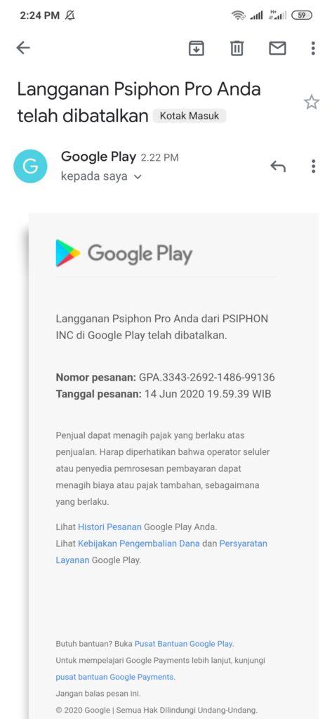 Bukti Berhasil Membatalkan Langganan dari Aplikasi Psiphone Pro