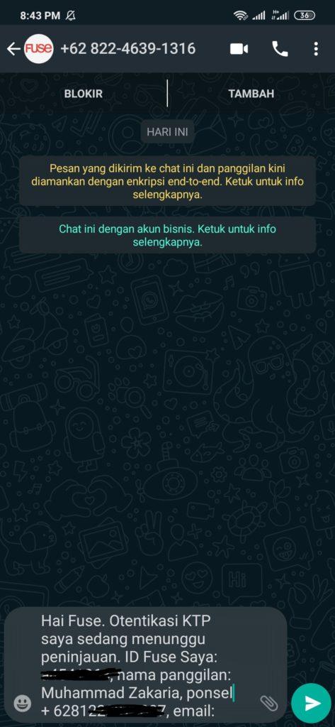 Kirim Chat Ke Whatsapp Fuse Pro