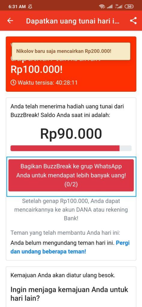 Cara Mendapatkan Uang Gratis dari Aplikasi Buzzbreak