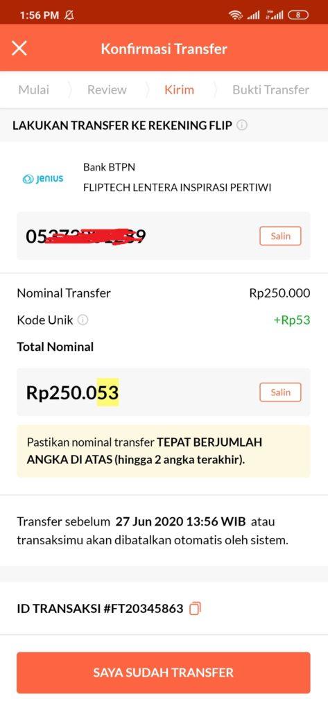 Klik kirim pembayaran