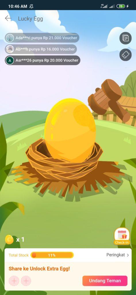 Even Lucky Egg Hadiah Voucher Gratis Lazada
