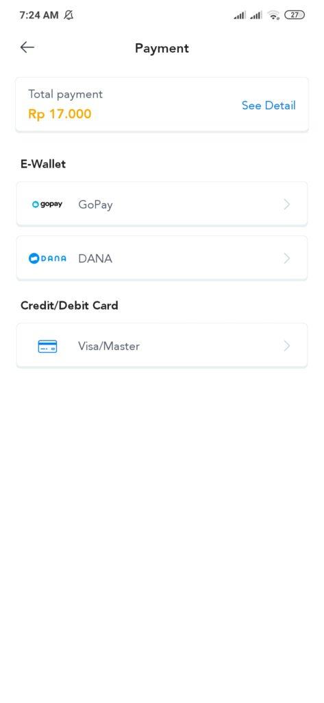 Metode pembayaran dari aplikasi Dana