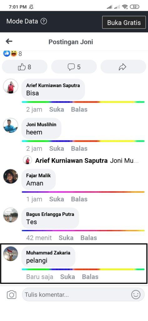cara komentar foto gambar di facebook