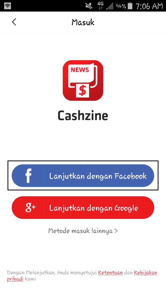 cara daftar dengan facebook di aplikasi Cashzine