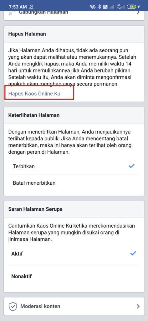 menghapus halaman facebook dari android