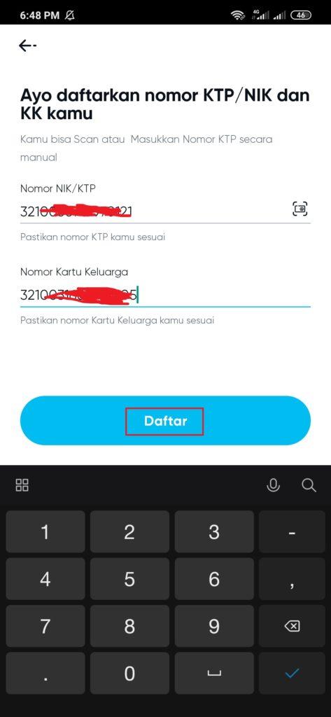 cara mendaftarkan nomor ktp dan kk di aplikasi By.u