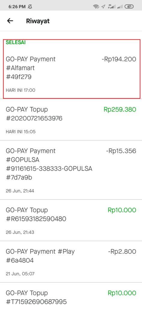 Bukti Transaksi di Alfamart bayar dengan Gopay