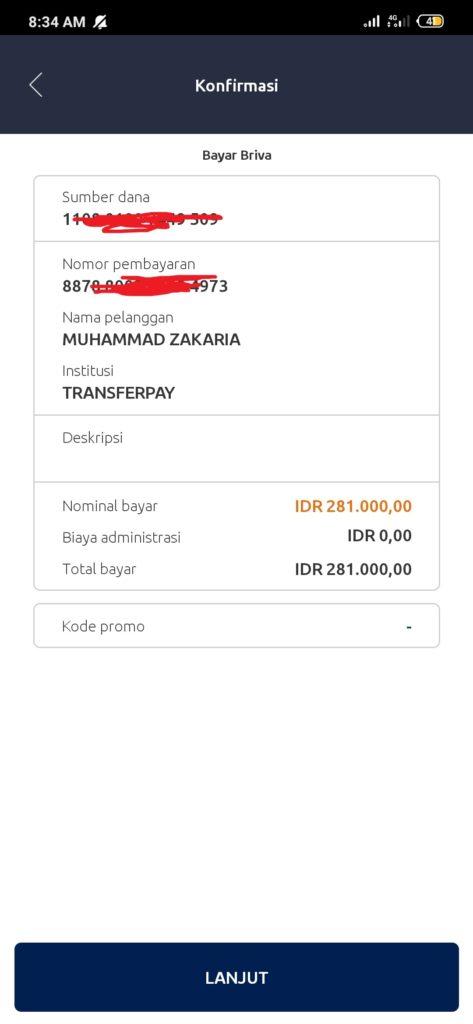 konfirmasi pembayaran di aplikasi brimo