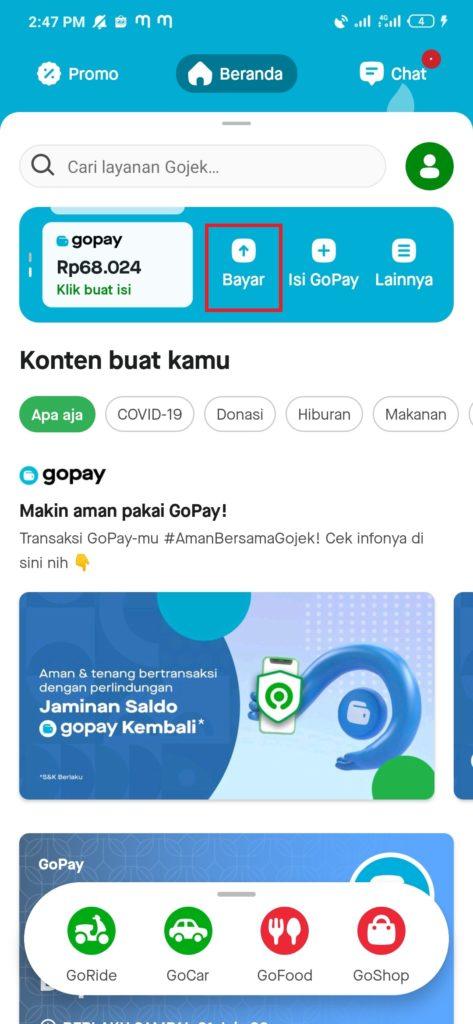 bayar tagihan dari gopay aplikasi bukalapak