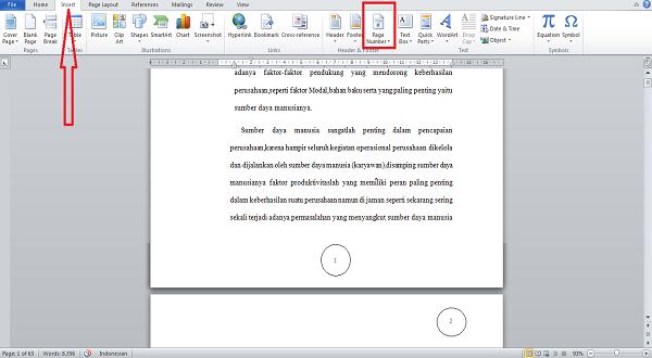 Cara Membuat Nomor Halaman di MS Word